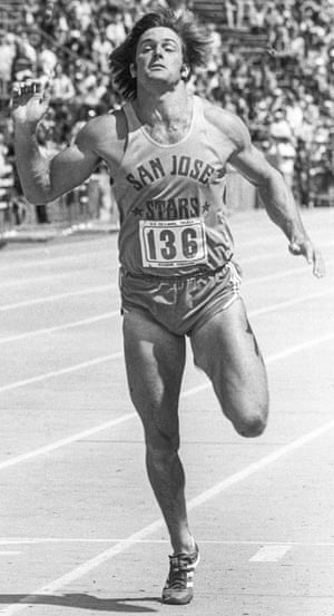 Jenner as a muscular athletics track star in 1976.