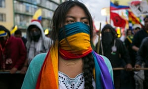 One of 1000s of Ecuadorians protesting proposed constitutional reforms and other policies.