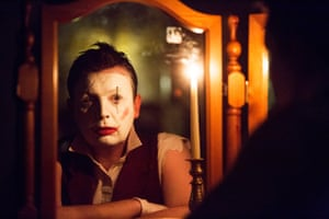 Actor Thom Tuck as clown Scaramouche Jones at the Edinburgh festival fringe