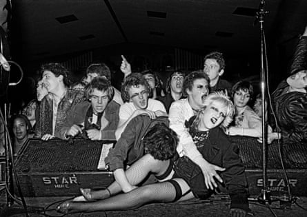 Stage invasion at the Ruts gig in Norfolk.