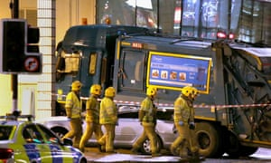 The scene in Glasgow's George Square after a bin lorry crashed into a group of pedestrians last year.
