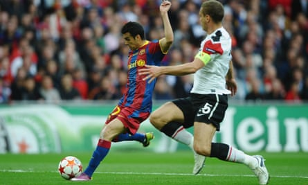 Pedro scores the opening goal for Barcelona in the 2011 Champions League final at Wembley against Manchester United.