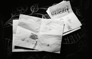 Some of Islam's drawings showing the trauma of losing her family members in an Israeli attack.