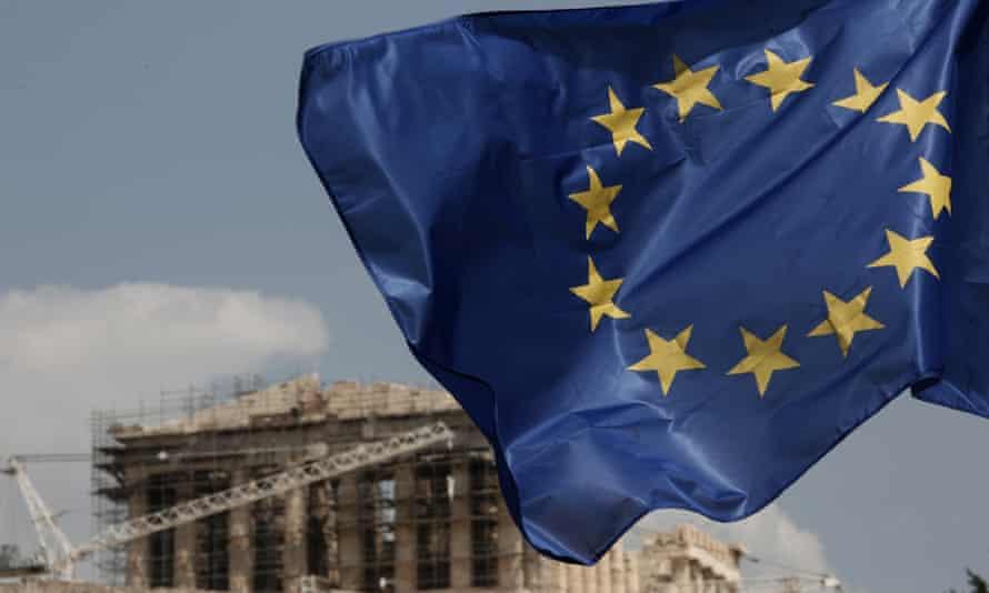 EU flag near Parthenon in Athens