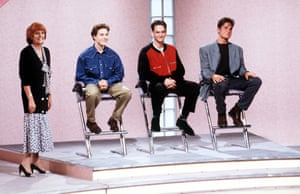 Cilla Black with contestants on Blind Date in 1989