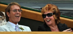 Cilla Black with Sir Cliff Richard during the 2009 Wimbledon tennis championships