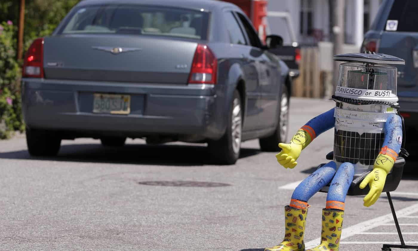 Hitchhiking robot dead as cross-country trip cut short by vandals