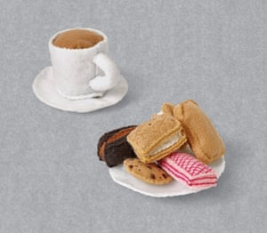 Lucy Sparrow artist felt tea and biscuits