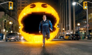 Josh Gad and Pac-Man in Pixels.