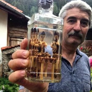 Rumen Rosenovi with his special bottle of rakia