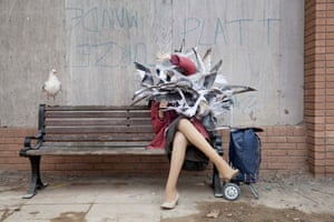 Banksy's new work showing a woman being attacked by seagulls