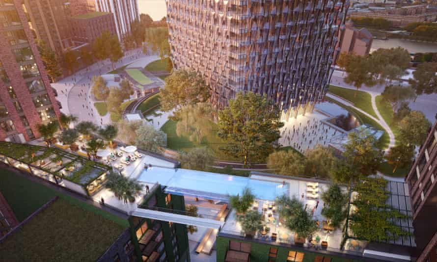 The all-glass sky pool will hang right next to the new US Embassy, a building set back behind a 30-metre bomb blast zone.