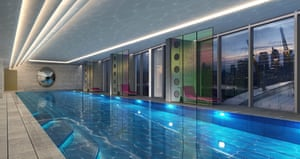 'The highest residential pool in London' at the Greenwich Peninsular … but not for long.