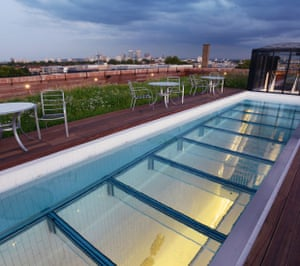 Glass-bottomed pool … Hackney's London Fields moves into the rooftop swimming league.