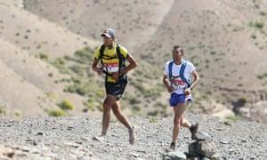 Samir Akhdar and Lahcen Zardi battle for the lead in the Trans-Atlas Marathon