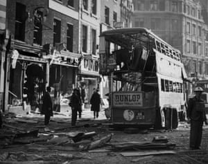 A street in central London in 1940, the morning after an air raid.