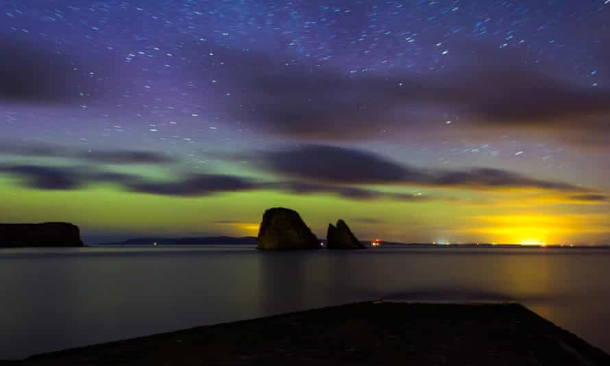 The northern lights over the coast of Caithness.