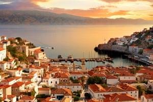 The historic port of Hydra, Greece