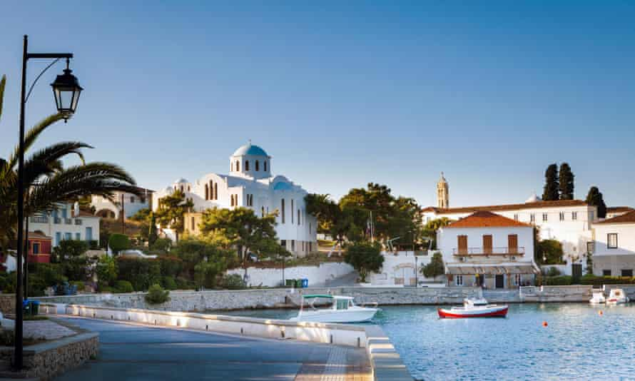 Spetses Town promenade on the Aegean island of Spetses, Greece