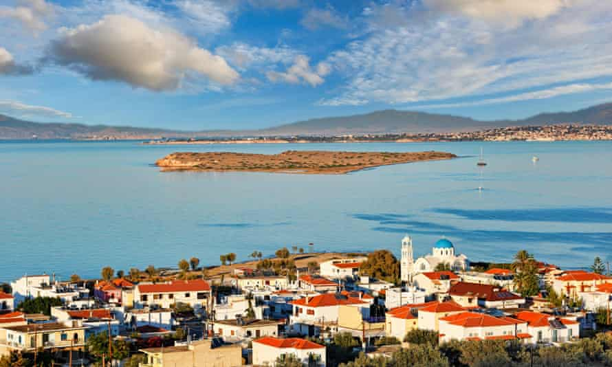 Skala is the port of Agistri island in Saronic gulf, Greece