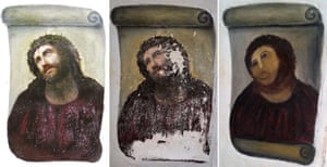 "the original version of the painting Ecce Homo (L) by 19th-century painter Elias Garcia Martinez, the deteriorated version (C) and the restored version by an elderly woman in Spain. An elderly woman's catastrophic attempt to ""restore"" a century-old oil painting of Christ in a Spanish church has provoked popular uproar, and amusement."