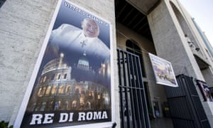 A banner showing Vittorio Casamonica and reading King of Rome hangs from the facade of the Don Bosco church in Rome.