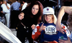 Penelope Spheeris directing Dana Carvey in Wayne's World in 1992.