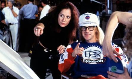 Penelope Spheeris directing Dana Carvey in Wayne's World in 1992.