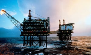 Oil platforms in the Brent field in the North Sea.