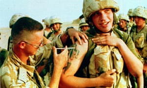 A soldier receiving an injection against the effects of a possible chemical attack in 1991
