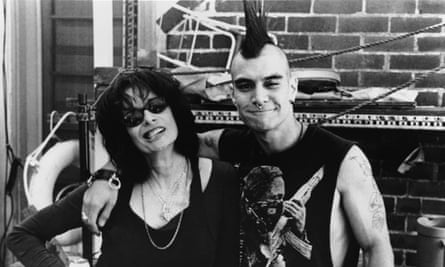 director Penelope Spheeris with Eyeball while filming The Decline of Western Civilization