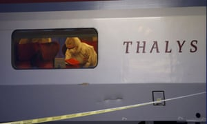 French police search for clues inside the Thalys high-speed train