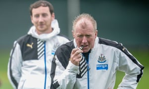 NEWCASTLE UPON TYNE, ENGLAND -  AUGUST 21: Newcastle Head Coach Steve McClaren waits to blow his whistle during a Newcastle United training session at The Newcastle United Training Centre on August 21, 2015, in Newcastle upon Tyne, England. (Photo by Serena Taylor/Newcastle United via Getty Images)Club SoccerFAFootballSoccer