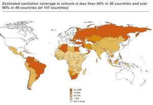 Estimated sanitation coverage in schools.