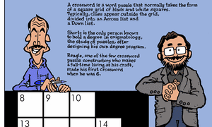 Will Shortz and Merl Reagle in an illustration by Greg Williams.