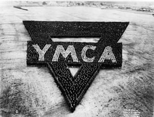 YMCA emblem, comprised of officers, men, and camp activity workers at Camp Wheeler, Macon, Georgia, 1917-1918.