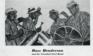 Russ Henderson, second right, and his Trinidad Steel Band with, from left, Sterling Betancourt, Ralph Cherrie and Max Cherrie. Photograph: Val Wilmer Collection