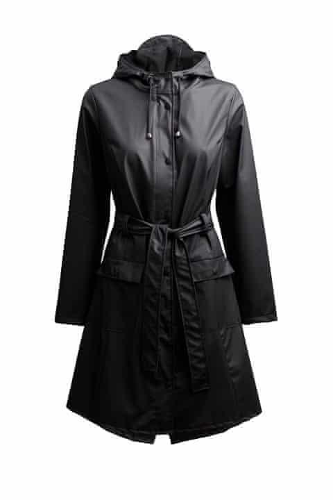 Black waterproof trench coat by Rains