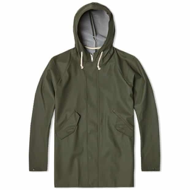 Waterproof khaki hooded jacket with rope drawstring by Elka