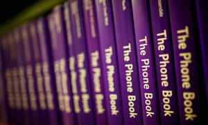 A row of telephone books