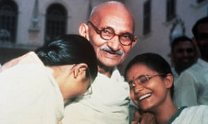 Mahatma Gandhi with his granddaughters