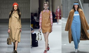 Wes Anderson rules the runway ... models walk for (left to right): Gucci, Miu Miu and Lacoste.