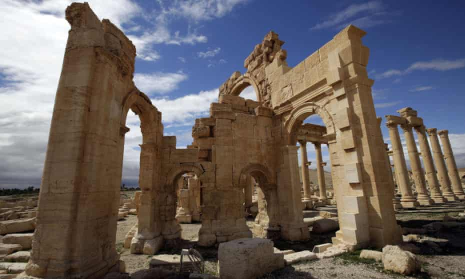 The courtyard of the sanctuary of Baal Shamin in the ancient oasis city of Palmyra.