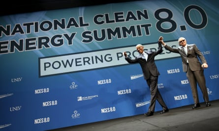 Barack Obama with the US senate minority leader Harry Reid at the National Clean Energy Summit in Las Vegas.