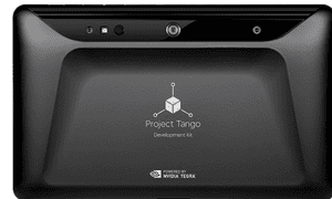 The back of Google's Project Tango tablet, showing its array of sensors.