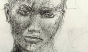 Charcoal sketch of African girl scowling