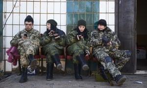 Pro-Russian rebels near Mariupol in Ukraine. Russia has denied sending troops to support rebel activity.
