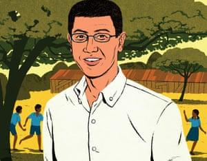 An illustration of Kentaro Toyama in India