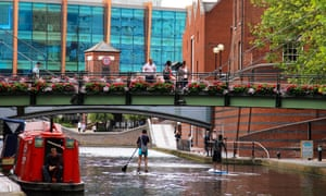 Paddleboarding along the canals of Birmingham's former industrial district