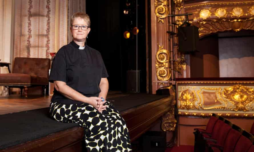 Dramatic role: Lyndsay Meader at London's Apollo Theatre.